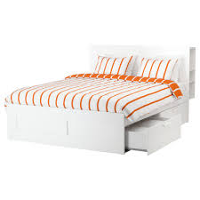 White Wood Bed Frame Brimnes Bed Frame With Storage U0026 Headboard Queen Ikea