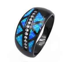 fire opal rings images Jz0170 new arrival real black gold filled blue fire opal rings for jpg