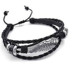 leather wrap bracelet men images Konov mens leather wrap bracelet vintage wing fit 7 jpg