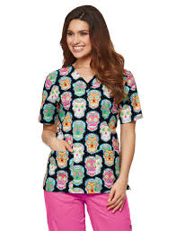 day of the dead 2 pocket scrub top