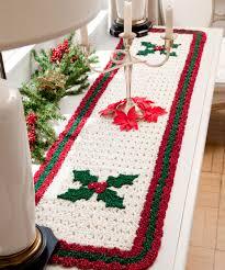 Crochet Table Runner Pattern Holly Table Runner Crochet Pattern Red Heart