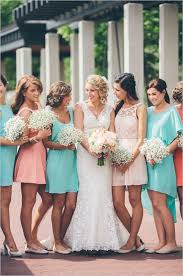 coral and teal bridesmaid dress inspiration bride link
