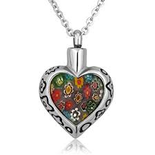 cremation necklaces q locket heart colorful flower urn necklaces for ashes
