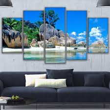 online get cheap island beach pictures aliexpress com alibaba group 5 piecestropical island paradise hd canvas oil painting for living room beach wall posters modern home