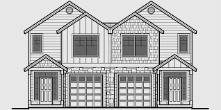 house plans for narrow lots with front garage house front drawing elevation view for d 599 duplex house plans 2