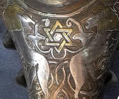 antique menorah antique hanukkah menorah damascus work l shaped