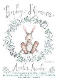 rabbit baby shower bunny baby shower invitation printable bunny rabbit invite gender