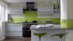 linear kitchen with lime green splashback from harvey jones