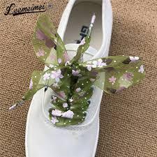 ribbon shoelaces online shop 1 pair snowflake yarn flat satin silk ribbon shoelaces