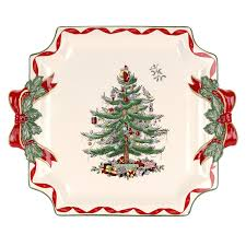 amazon com spode christmas tree ribbons square platter gold