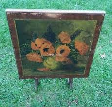 Wooden Folding Card Table 015 Vintage M Streck Floral Painting Wood Folding Card Table