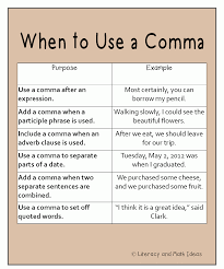 free student reference chart when to use a comma fundamentals