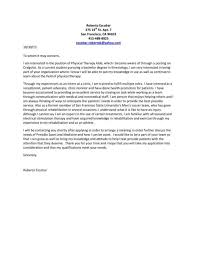 Resume Physical Therapist Outpatient Therapist Cover Letter