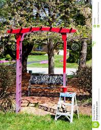 painting garden trellis red stock photo image 54091806