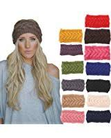 knitted headbands nishaer women s wide chunky cable knitted turban headband beige