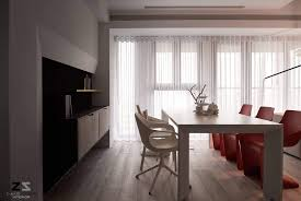 interior dining room chair white red windows curtain table shelf