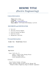 Examples Of Resume Title by Resume Title Profesional Engineering