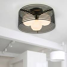 Bathroom Lighting Ceiling Light Black Metal White Shade Designer Flush Mount Ceiling Lights