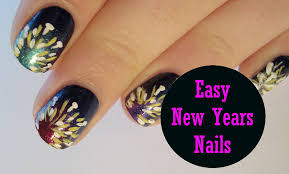 easy new years nails simple firework explosion inspired nail