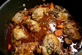 cuisiner du coq coq au vin plat du jour maison du restaurant le hubert de