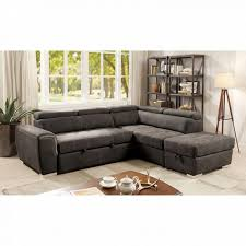 Pull Out Sectional Sofa Furniture Of America 2 Pc Lorna Collection Graphite Fabric