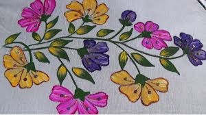 fabric painting sari shade design