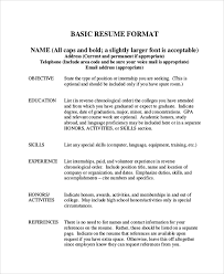 Study Abroad Resume Sample by Examples Of A Basic Resume Sample Basic Resume 7 Documents In