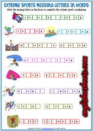 extreme sports esl printable missing letters in words worksheet