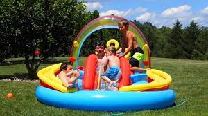 Intex Inflatable Pool Intex Rainbow Ring Inflatable Pool Party Youtube
