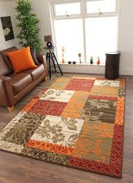 Cheap Area Rugs Uk New Warm Orange Modern Patchwork Rugs Small Large Living Room
