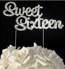 16 cake topper silver rhinestone monogram cake topper