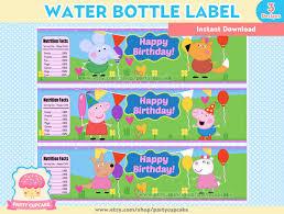 80 sale water bottle label peppa pig 3 designs