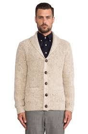 gant rib shawl cardigan in white for men lyst