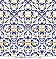 mexican tiles pattern vector blue yellow stock vector 593003534