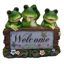 solar frogs welcome statue products statue frogs