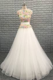 multi color wedding dress multi color 3d floral illusion tulle a line cathedral chic