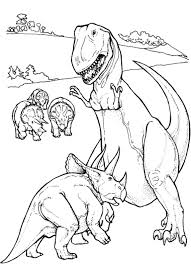 print u0026 download triceratop vs t rex dinosaur coloring pages