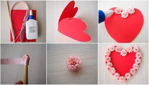 valentine home decorations diy valentines day cards tutorial paper flowers glue heart shaped