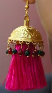 lotan earrings earrings lotan magenta resham silk tassels and gold multi