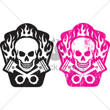 skull and crossed pistons gl stock images