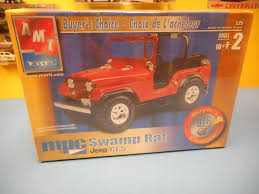 orange jeep cj amt jeep cj 5 mpc swamp rat plastic model car kit cj5 buyers
