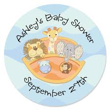 noah ark baby shower noah s ark personalized baby shower sticker labels 24 ct