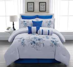 Grey Down Comforter Royal Blue Bedding Sets Piece Queen Linnea Blue Comforter Set