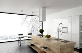 unusual wooden island with cook top and awesome grohe kitchen