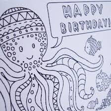 octopus colouring in birthday card by nic farrell illustration
