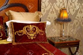 interior a royal bedroom with a lamp stock photo picture and