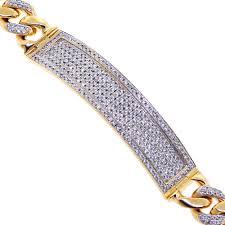 bracelet diamond images 14k yellow gold 4 21 ct diamond cuban mens id bracelet 9 25 inch jpg