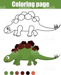 coloring page with cute dinosaur children educational game drawing