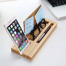 Organizer Desk Bamboo Desk Organizer With Integrated Phone Holder Gadgetsin