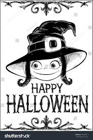 halloween card witch creepy framework letters stock illustration
